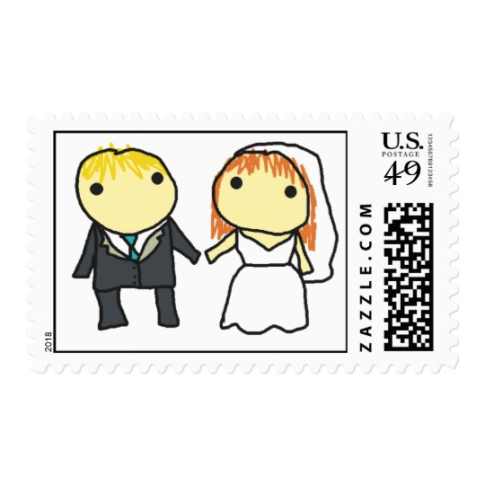 Bride and Groom Cartoon Wedding Stamp