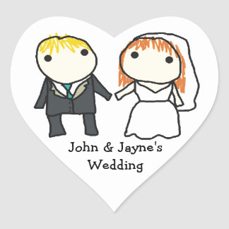 Bride and Groom Cartoon Wedding Stickers