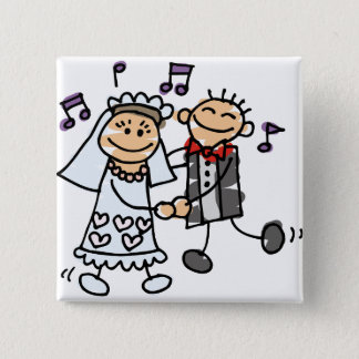Bride and Groom Celebrate Button