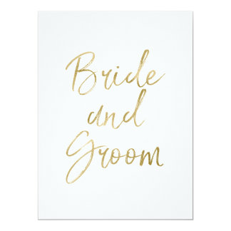 Bride and Groom Chair Door Signs Stylish Gold Card