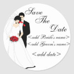 Bride and Groom Classic Round Sticker