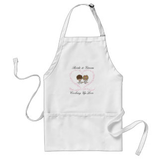 Bride and Groom-Cooking Up Love Aprons