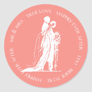 Bride and Groom Coral Happily Ever After Sticker