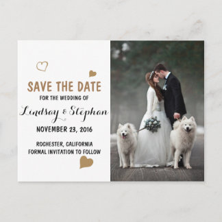 Bride and groom - couple christmas - white dogs announcement postcard