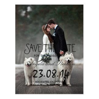Bride and groom - couple christmas - white dogs postcard