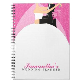 Bride and Groom Custom Wedding Planner {pink} Notebook