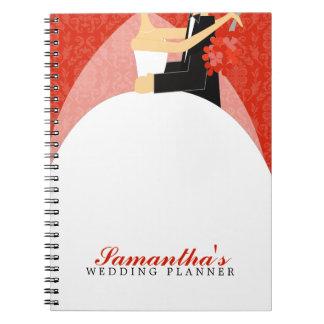 Bride and Groom Custom Wedding Planner {red} Spiral Notebook