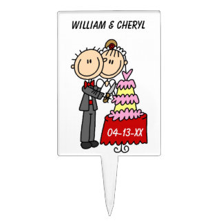 Bride and Groom Cut the Cake T-shirts and gifts Cake Topper