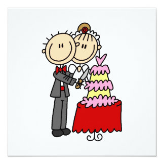 Bride and Groom Cut the Cake T-shirts and gifts Card
