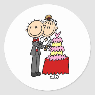 Bride and Groom Cut the Cake T-shirts and gifts Classic Round Sticker