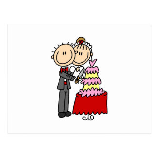 Bride and Groom Cut the Cake T-shirts and gifts Postcard