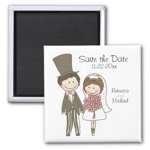 Bride and Groom Cute Cartoon Save the Date Wedding 2 Inch Square Magnet