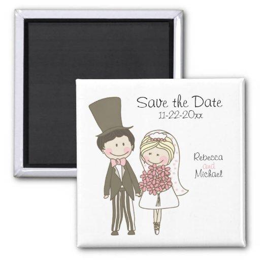 Bride and Groom Cute Cartoon Save the Date Wedding Fridge Magnet