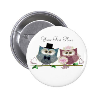 Bride and Groom cute Owls Art Button