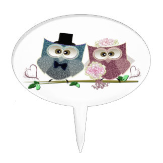 Bride and Groom cute Owls Art Cake Topper