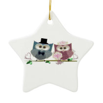 Bride and Groom cute Owls Art Ceramic Ornament