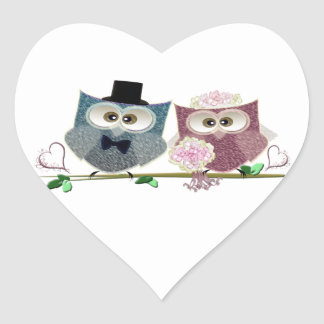 Bride and Groom cute Owls Art Heart Sticker