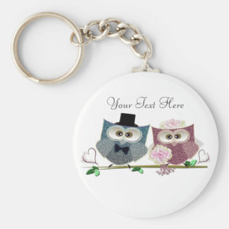 Bride and Groom cute Owls Art Key Chains