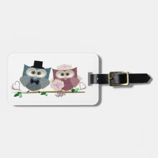 Bride and Groom cute Owls Art Luggage Tag