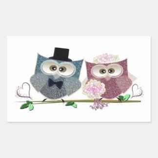 Bride and Groom cute Owls Art Rectangular Sticker