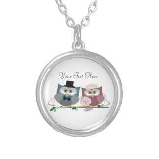 Bride and Groom cute Owls Art Round Pendant Necklace