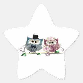Bride and Groom cute Owls Art Star Sticker