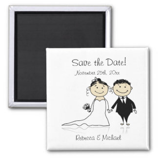 Bride and Groom - Cute Save the Date Magnets