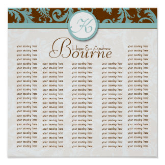 Bride and Groom Damask Seating Chart for Reception Print
