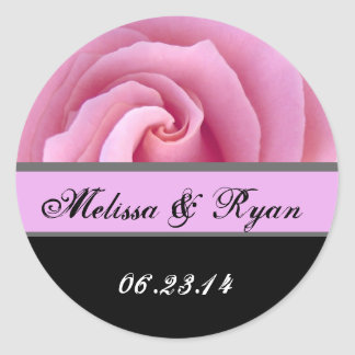 Bride and Groom DATE Sticker PINK Rose
