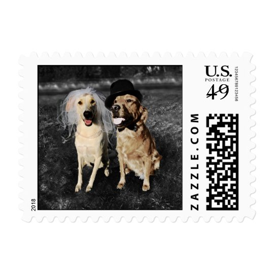 Bride and Groom Dogs Postage