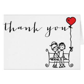 Bride and Groom Doodles Wedding Thank You Card