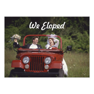 Bride and Groom Elopement Reception Announcement Custom Invitations
