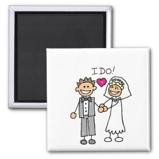 Bride and Groom Exchange Vows Save The Dates 2 Inch Square Magnet