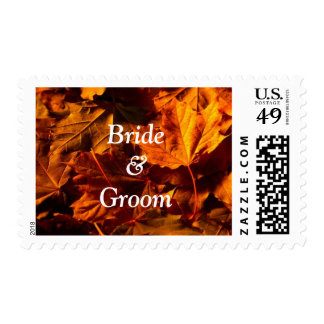 Bride And Groom Fall Leaves Wedding Postage Stamps