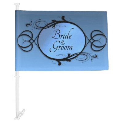 Bride and Groom Fantasy Blue Car Flag