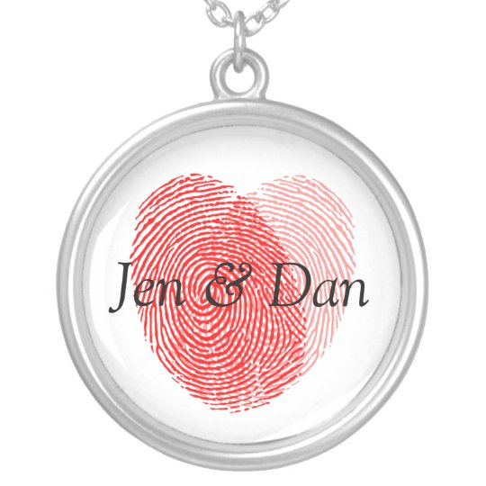 Bride And Groom Fingerprints Wedding Charm Silver Plated Necklace