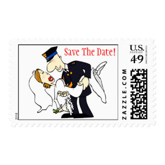 Bride and Groom Fireman Wedding Save The Date Stamp