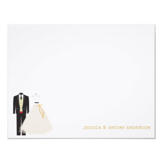 Bride and Groom Flat Thank You Notes Card