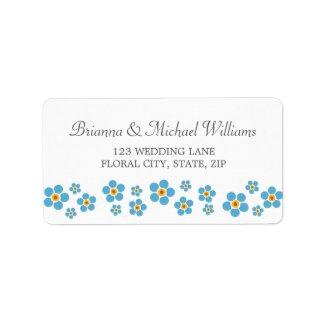 Bride and groom floral wedding address label