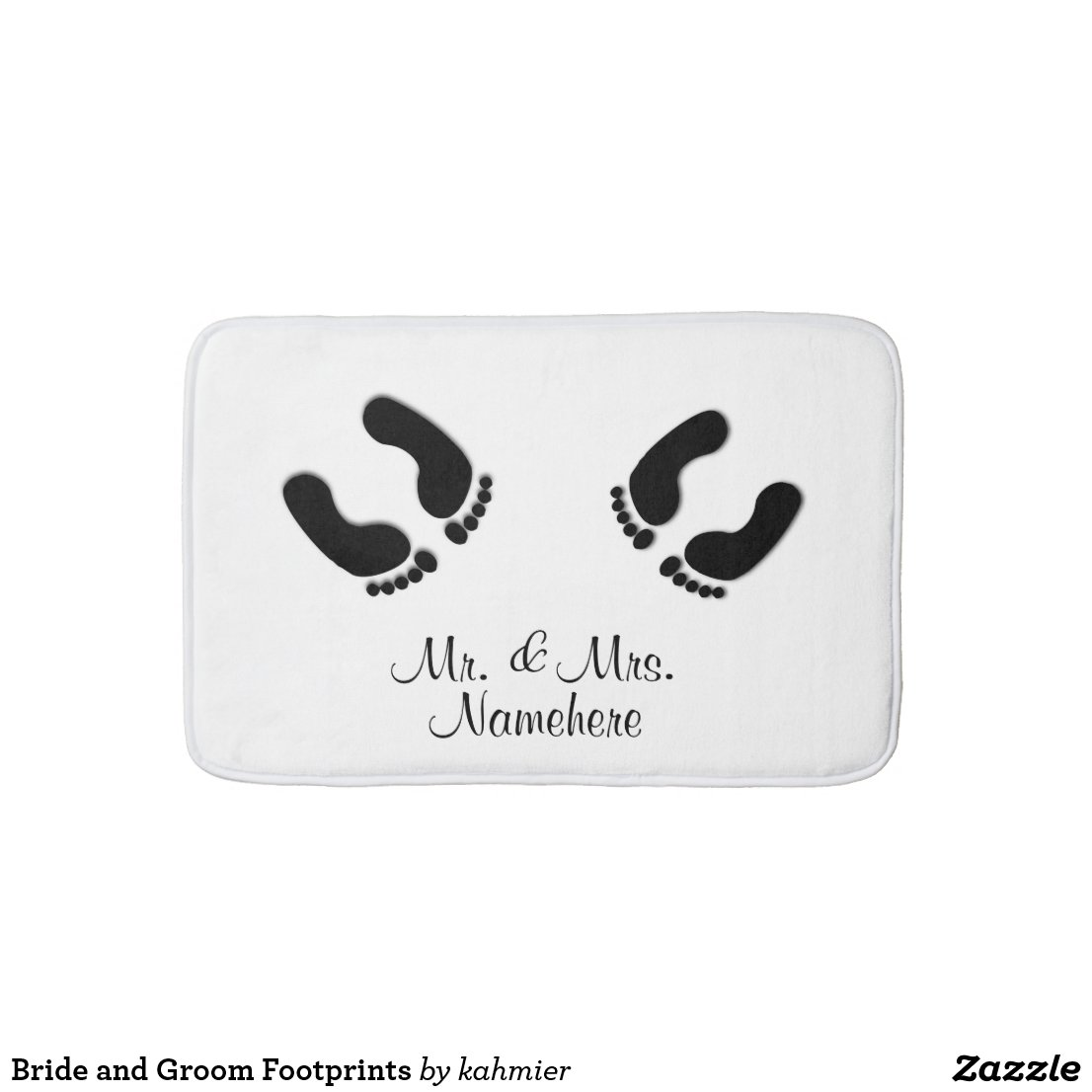 Bride and Groom Footprints Bathroom Mat