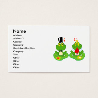 bride and groom froggy frogs business card
