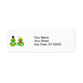bride and groom froggy frogs label