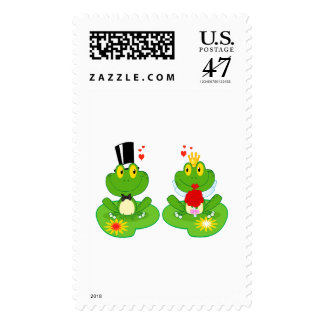 bride and groom froggy frogs postage