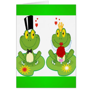 Bride and Groom Frogs Greeting Cards