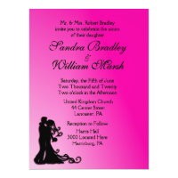 Bride and Groom Fuchsia 6.5x8.75 Paper Invitation Card