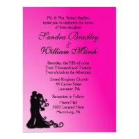 Bride and Groom Fuchsia 6.5x8.75 Paper Invitation Card