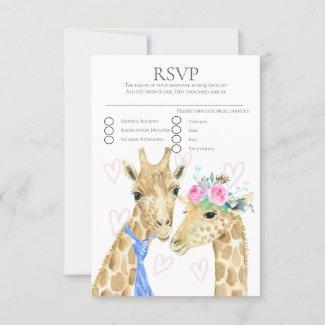 Bride and Groom Giraffe Wedding  RSVP