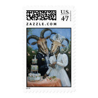 Bride and Groom Goats Getting Married Postage Stamp