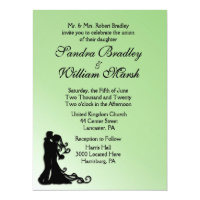 Bride and Groom Green 6.5x8.75 Paper Invitation Card