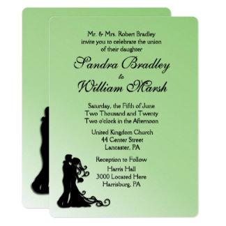 Bride and Groom Green Wedding Card